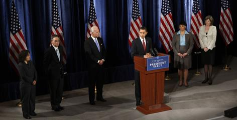 President-elect Barack Obama presents his choices for his environmental and energy team. From left: Nancy Sutley as White House counsel on Environmental quality; Energy Secretary nominee Steven Chu; Vice President-elect Joe Biden; Obama; Environmental Protection Agency administrator nominee Lisa Jackson; and energy czar nominee Carol Browner.