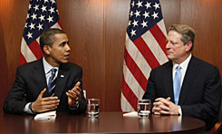 President-elect Barack Obama meets with Al Gore in Chicago on Dec. 9. Gore wants action on climate change.