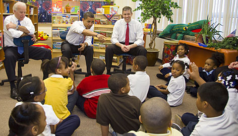 Education Secretary-designate Arne Duncan, right, joins President-elect Barack Obama and Vice President-elect Joe Biden on Tuesday to speak with Chicago schoolkids.