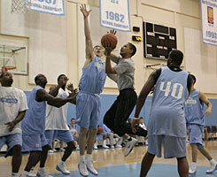 Barack Obama goes up against Tyler Hansbrough on April 29 in Chapel Hill, N.C.
