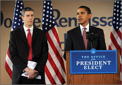 President-elect Barack Obama has named Chicago schools chief Arne Duncan, left, as his choice for education secretary. Obama made the announcement at a news conference in Chicago on Tuesday.