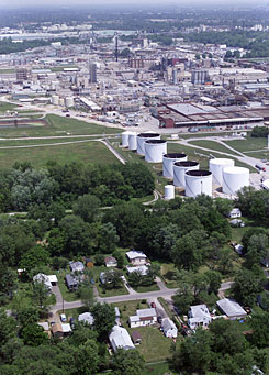 This industrial zone in western Louisville, known as Rubbertown, was the focus of a push to curb the release of toxic chemicals.
