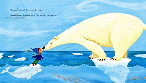 An inside illustration from the book Santa Goes Green, in which a boy, Finn, asks Santa to raise awareness about global warming to save his polar bear friend, Leopold.