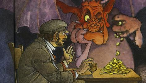 An inside illustration from the book Hershel and the Hanukkah Goblins, which teaches children a lesson against greed.