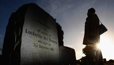 A woman visits the Lockerbie Memorial in Lockerbie, Scotland, on Wednesday. The blast killed 270 on December 21, 1988. This year marks the 20th anniversary of the tragedy.