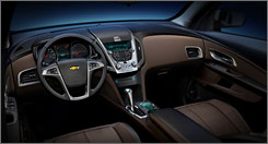 A computer generated image of the interior of the 2010 Chevrolet Equinox LTZ.