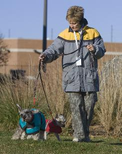 A Humane Society volunteer walks Sarie, in red, and Joey, in Omaha, Neb. The two 9-year-old dogs were dropped off anonymously with a note that said their owners could no longer afford to keep them.