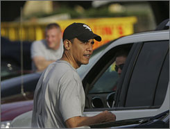 President-elect Barack Obama walks back to his motorcade after working out at the Kaneohe Bay Marine Corps Base in Kailua, Hawaii.