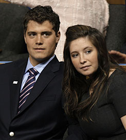 Levi Johnston, left, is seen with his girlfriend Bristol Palin, daughter of Alaska Gov. Sarah Palin,  at the Republican National Convention in St. Paul, Minn..  in September. Johnston's mother was arrested on felony drug charges.