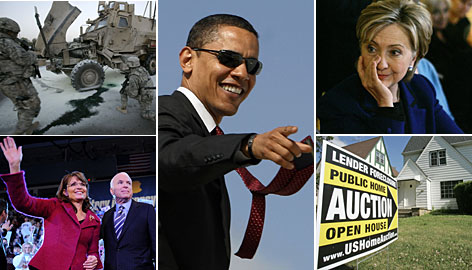 Baghdad photo by AP, Barack Obama by Reuters, Hillary Clinton by AP, Foreclosure scene by AP; Sarah Palin and John McCain by AFP/Getty Images