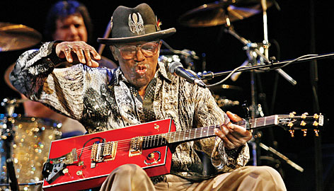 Rock and Roll Hall of Famer Bo Diddley performs at the Colonial Theater in Keene, N.H., on Oct. 26, 2006. Diddley died of heart failure on June 2 in Florida. He was 79.