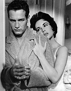 Paul Newman, left, and Elizabeth Taylor are seen in the 1958 Hollywood film Cat on a Hot Tin Roof.