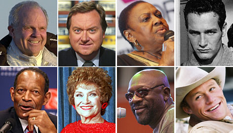 Clockwise from top left: Steve Fossett, Tim Russert, Miriam Makeba, Paul Newman, Heath Ledger, Isaac Hayes, Estelle Getty and Gene Upshaw all died in 2008.