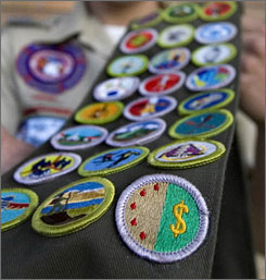 N.Y. Boy Scout Shawn Goldsmith earned all 121 merit badges, like these seen here, a rare feat.