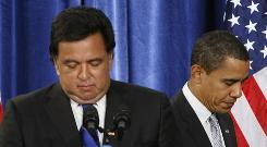 Bill Richardson, seen on the left in this Dec. 3 photo with President-elect Barack Obama, has withdrawn his bid to be Commerce secretary.