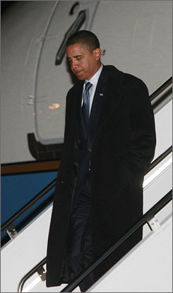 President-elect Barack Obama arrived in Washington on Sunday. The Obamas will live in the historic Hay-Adams Hotel until the Blair House, the White House guest quarters, is available Jan. 15.