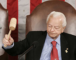 Sen. Robert Byrd., D-W.Va., is the oldest member of Congress at 91. He's in his 50th year of service.