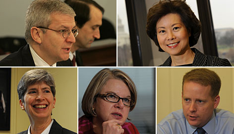 Administration officials who have been with President Bush the longest are, clockwise from top left, Joshua Bolton, Elaine Chao, Jim Wilkinson, Margaret Spellings and Joan Doty.