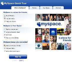 Screen shot of a MySpace introduction page.