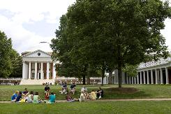 "Students sit on the University of Virginia campus. UVA was again named the No. 1 ""best value"" public college by The Princeton Review."