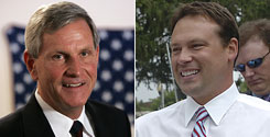 """Blue Dog Democrats such as Indiana Rep. Baron Hill, left, want assurances on pay-as-you-go. N.C. Rep. Heath Shuler, right, believes """"This is our opportunity"""" to fix spending."""