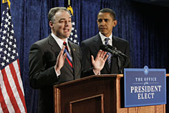Virginia Gov. Tim Kaine is announced as the new Democratic National Committee (DNC) chairman by President-elect Barack Obama in Washington on Thursday.