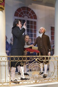 Mt. Vernon's display of George Washington's inauguration includes an exhibit on the constitutional oath, the words of which are now debated by historians.