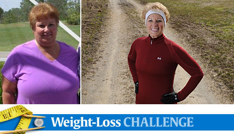 A before, left, and after photo of Diane Reuter. At right is Reuter in December in her Richwood, N.J., orchard where she walks when the weather is nice. She exercises daily and has lost 145 pounds.