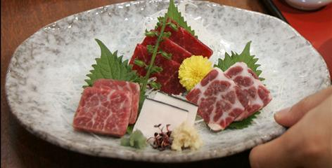 A plate of whale sashimi is served at a whale meat eatery in Tokyo.