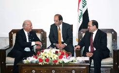 Vice President-elect Joe Biden, left, meets with Iraqi Prime Minister Nouri al-Maliki, right, Jan. 13 in Baghdad, Iraq. Biden told Iraqi leaders the incoming administration is committed to a responsible U.S. troop withdrawal.