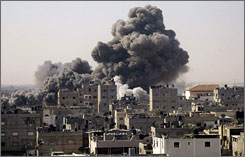 An Israeli airstrike strikes Rafah in southern Gaza on Tuesday.