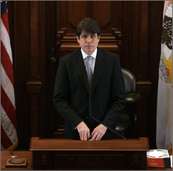 Blagojevich presides over the Illinois Senate on Wednesday.