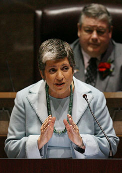 Ariz. Gov. Janet Napolitano, Homeland Security Secretary-designate, gives her State of the State address for Arizona in the House Chamber of the State Capitol in Phoenix on Wednesday.