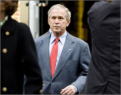 President Bush departs St. John's Episcopal Church after attending morning service Sunday, Jan.11.    Bush is spending his last weekend as president at Camp David. The speech will be his final public appearance until he greets President-elect Barack Obama on Inauguration Day at the White House's North Portico.
