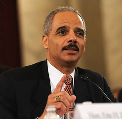 Attorney General nominee Eric Holder addresses members of the Senate Judiciary Committee Thursday during his confirmation hearing to head the U.S. Justice Department.