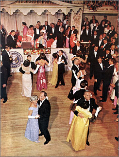 Vice President Hubert Humphrey and his wife, Muriel, left, and President Lyndon Johnson and his wife, Lady Bird, right, dance at the Inaugural Ball at the Mayflower Hotel in January 1965.