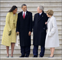 First lady Michelle Obama and President Obama bid farewell to departing president George Bush and Laura Bush.