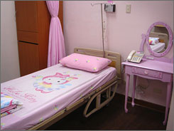 The owners of Taiwan's Hau Sheng Hospital believe that mothers and their newborns will be soothed by the well-known Hello Kitty decor.