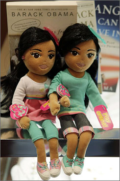 "A company spokeswoman said the dolls' monkers were chosen because ""they are beautiful names,"" not because of any resemblance to Malia and Sasha Obama."