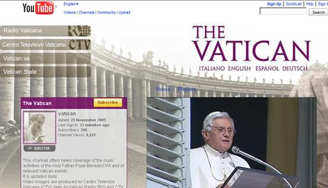 A screenshot of Pope Benedict XVI's channel page on YouTube.