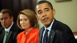 President Barack Obama makes remarks on the economy during a bi-partisian meeting with members of Congress including Speaker of the House Nancy Pelosi on January 23 at the White House in Washington, DC.