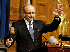 House Speaker Salvatore DiMasi acknowledges applause from the chamber as he bangs the gavel after being re-elected at the Statehouse in Boston earlier this month.