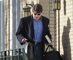Illinois Gov. Rod Blagojevich leaves his Chicago home Sunday before flying to New York City to appear on national television shows.