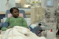 Amanda Hayes gets dialysis treatment three times a week at a center in Yazoo City, Miss. On the waiting list for a new kidney since 1994, Hayes says that patients who take care of themselves should get priority.