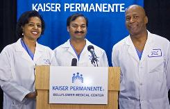 From left, doctors Karen Maples, Mandhir Gupta and Harold Henry speak from the Kaiser Permanente Bellflower Medical Center in Bellflower, Calif., on Monday. A mother gave birth to eight babies at the hospital south of Los Angeles, the world's second live-born set of octuplets.