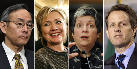 From left: Stephen Chu served on corporate boards; Hillary Rodham Clinton owns high-end homes; Janet Napolitano has the most modest holdings of Obama's Cabinet secretaries; Timothy Geithner paid a $34,000 debt to the IRS.