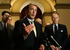"""U.S. House Minority Leader Rep. John Boehner raises questions Wednesday about the economic stimulus bill on Capitol Hill: """"How are they going to sustain that level of spending?"""""""