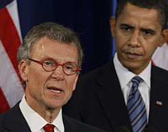 Health and Human Services Secretary-designate, former Senate Majority Leader Thomas Daschle, speaks during a news conference in Chicago on Dec. 11 with then President-elect Obama watching. Daschle recently filed amended tax returns to report $128,203 in unpaid taxes and $11,964 in interest, according to a Senate document obtained by The Associated Press.