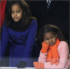Speaking of his 7-year-old daughter on NBC's <i>Today</i>, President Obama said his daughter Sasha, right, eats peanut butter.