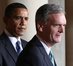 Republican Judd Gregg joins President Obama at the White House on Feb. 3. 